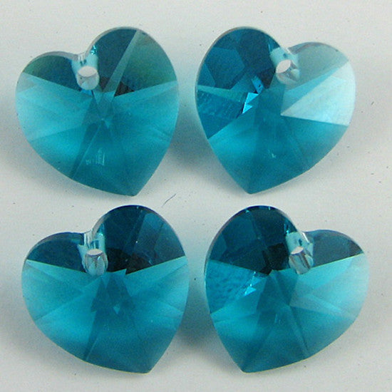 4 10mm Swarovski crystal heart pendant 6202 blue zircon