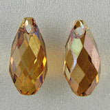 2 11mm Swarovski crystal briolette pendant 6010 copper