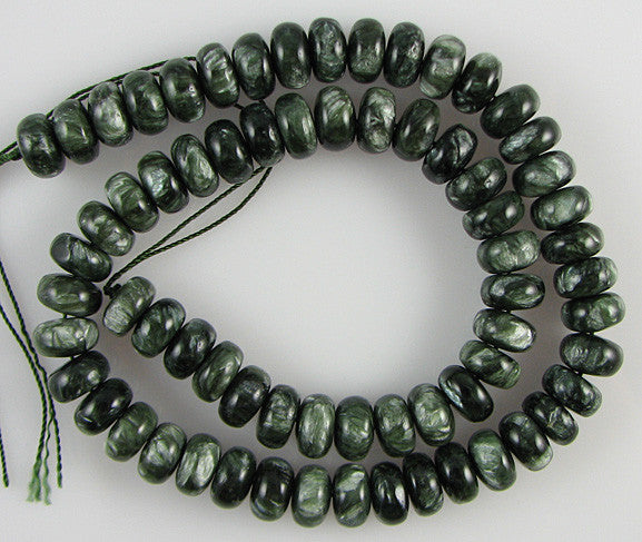 "10mm Russian seraphinite rondelle beads 16"" strand"