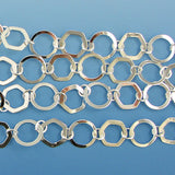 13mm silver plated copper ring hexagon chain one foot findings
