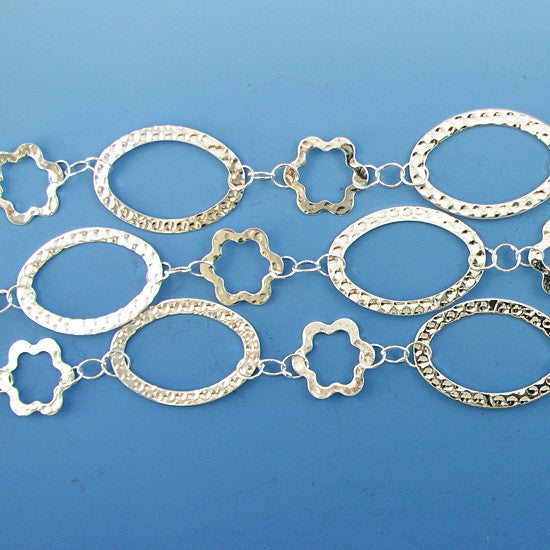34mm silver plated copper oval star chain one foot findings