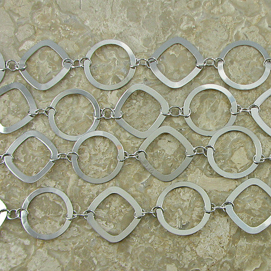 26mm brass oval ring diamond chain one foot findings