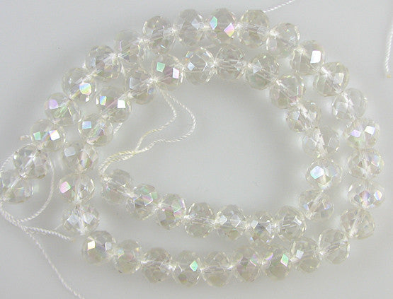 "10mm faceted fire crystal rondelle beads 16"" strand rainbow"