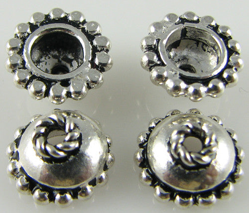 9x5mm .925 sterling silver spacer beads cap 4pcs findings