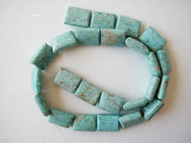 "16mm chrysocolla rectangle beads 16"" strand"