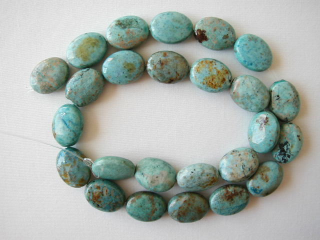 "16mm chrysocolla flat oval beads 16"" strand"
