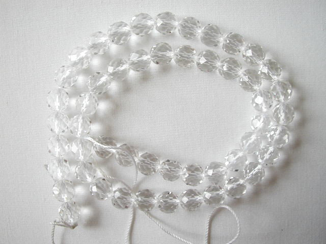 "4mm faceted clear crystal round beads 16"" strand"