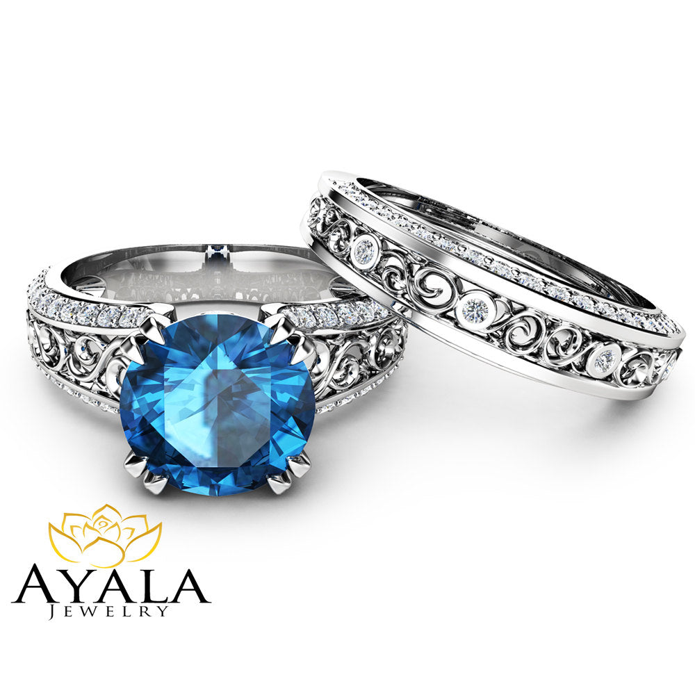 London Blue Topaz Engagement Ring Set 2 Carat Topaz Bridal Set Unique 14K  White Gold Rings
