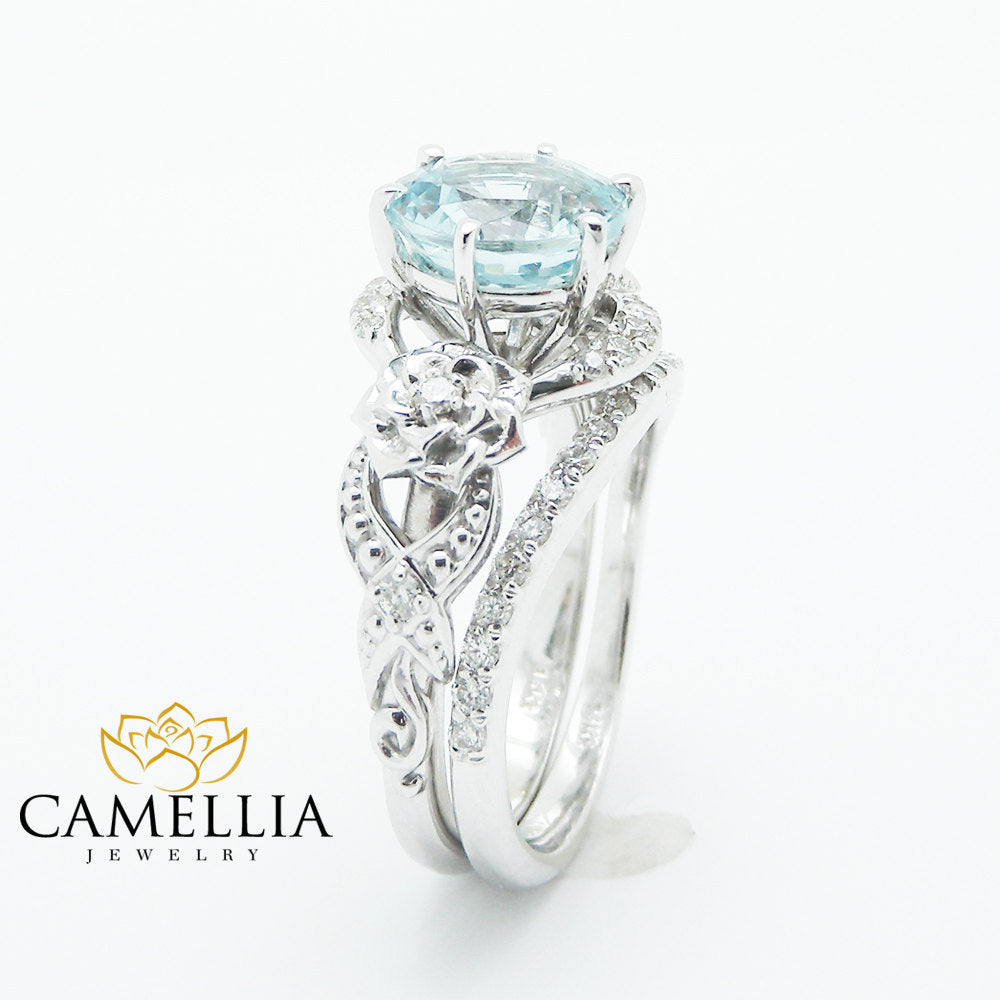 rings cushion birthstone aquamarine gold natural shank wedding engagement white diamond halo media split ring