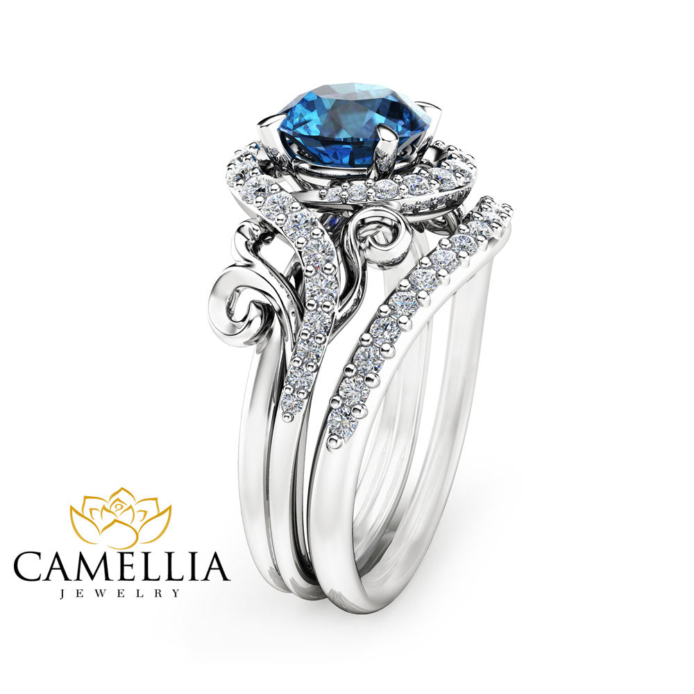 in gold ring diamonds diamond with blue white topaz