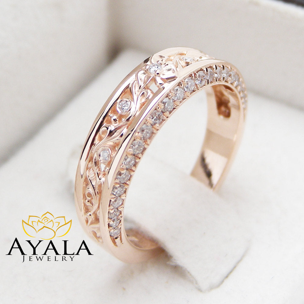Rose Gold Diamond Wedding Band Half Eternity Engagement Band