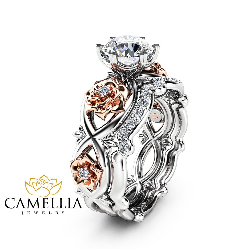 tone band rings gold diamond engagement ring camellia and solid two media