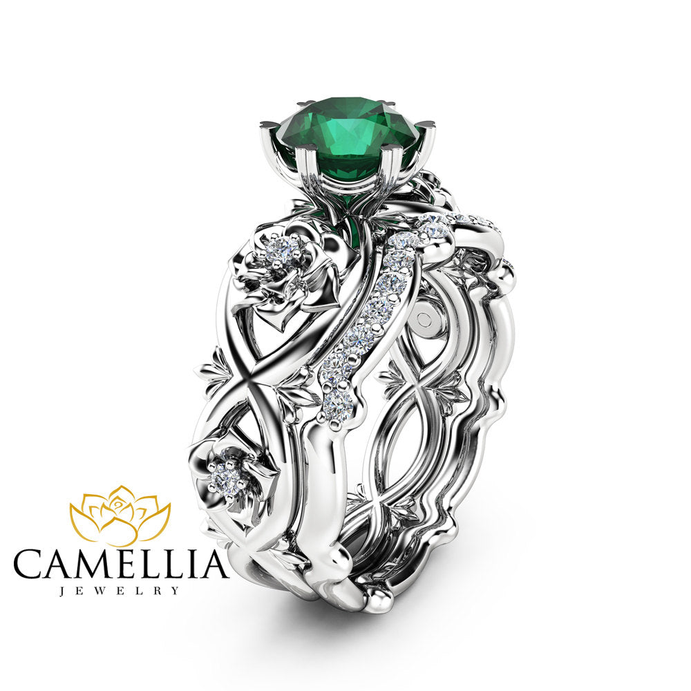 Emerald Engagement Rings Camellia Jewelry