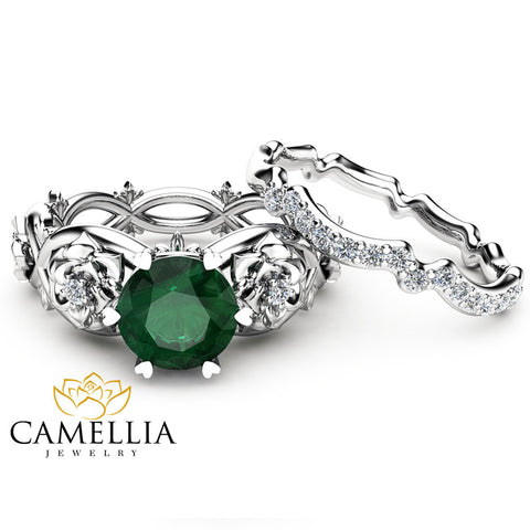 Floral Emerald Engagement Ring Set 14K White Gold Rings Emerald Engagement Rings Choose Your 1 CT Gemstone Ring