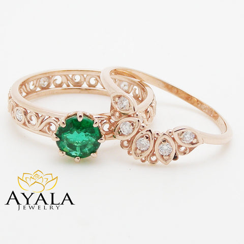 Filigree Design Emerald Wedding Ring Set in 14K Rose Gold Unique Emerald Engagement Set Art Deco Wedding Rings
