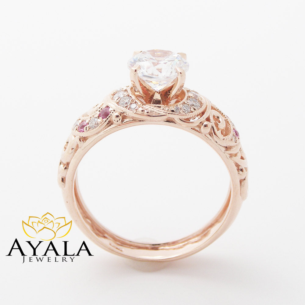 Moissanite Unique Engagement Ring 14K Rose Gold Engagement Ring Unique Moissanite Ring with Pink Sapphires