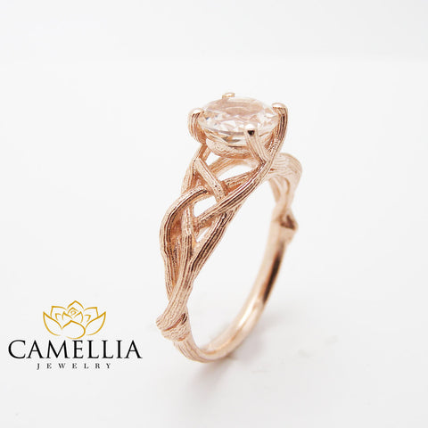 18K Rose Gold Morganite Engagement Ring Rose Gold Twig Rings Unique Peach Pink Morganite Branch Ring
