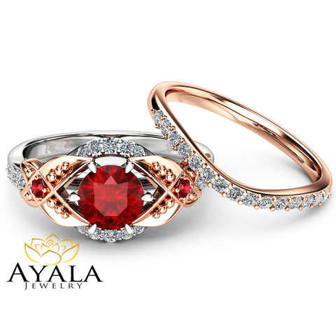 Leaf Ruby Engagement Ring Set 14K Two Tone Gold Engagement Rings Ruby Ring with Matching Rose Gold Diamond Band
