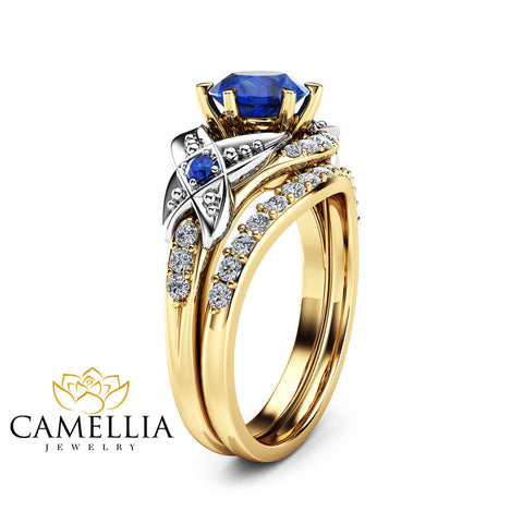 Sapphire Wedding Engagement Ring Set 14K Two Tone Gold Engagement Rings Sapphire Ring with Half Eternity Band