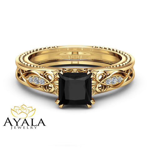 Black Diamond Victorian Engagement Ring 14K Yellow Gold Milgrain Ring Princess Black Diamond Engagement Ring