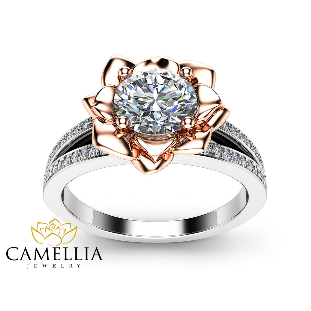 Moissanite Petal Engagement Ring 14K Two Tone Gold Flower Engagement Ring Forever One Moissanite Diamond Ring