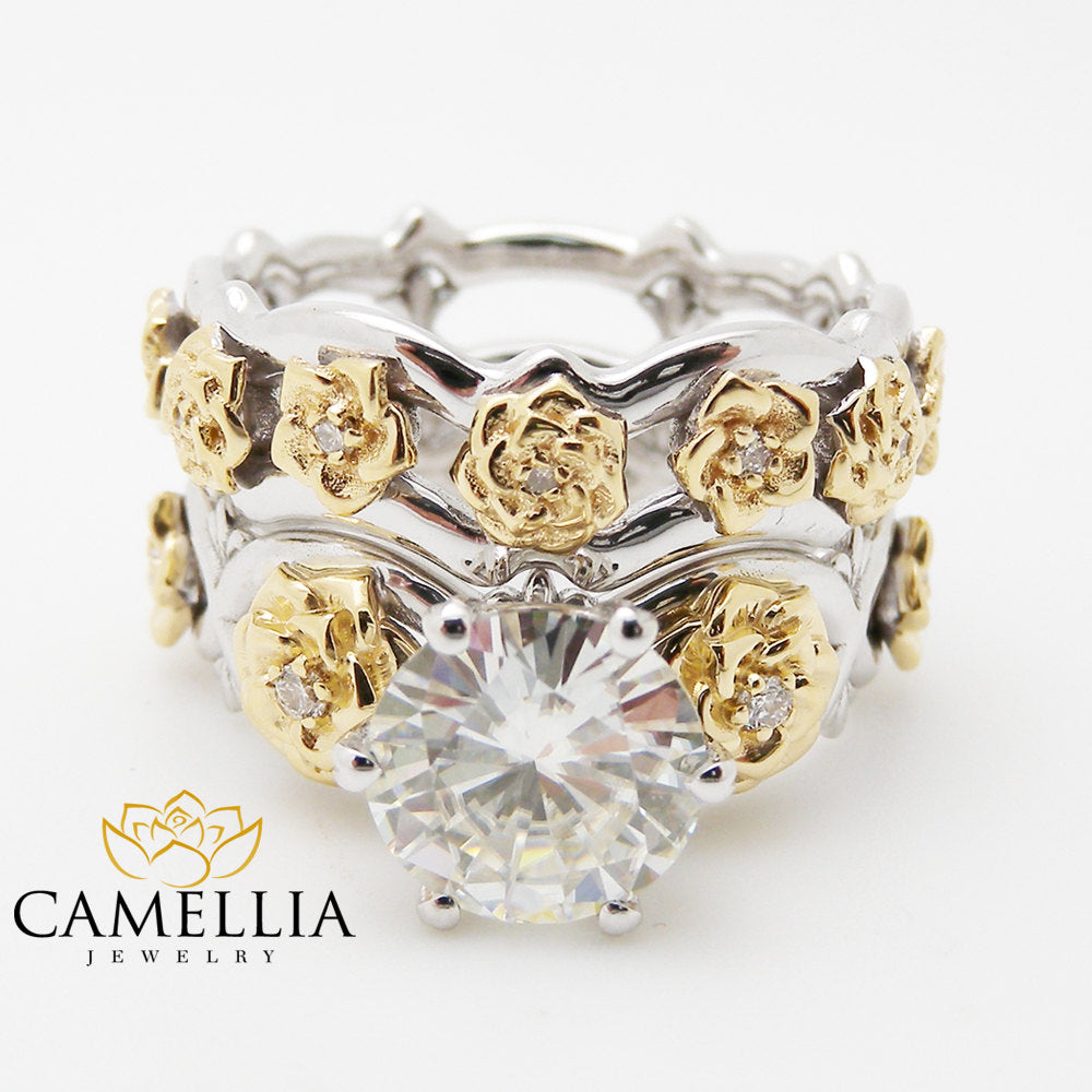 flower wedding ring 2 floral 2ct moissanite engagement ring set two tone gold 4240