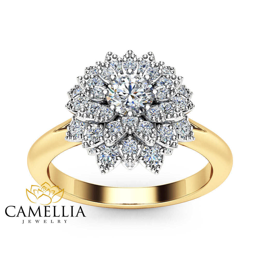 Diamond Flower Engagement Ring 14k Two Tone Gold Flower Ring Diamond