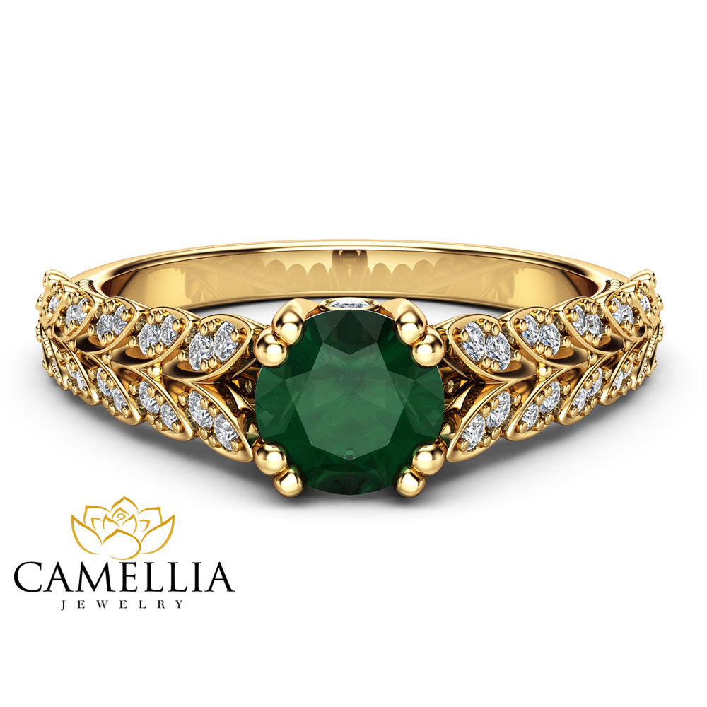 pave emerald ring artemer pear crown engagement solid with carat cut products diamond gold diamonds jewellery