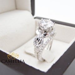 Unique Moissanite Engagement Rings Set 18K White Gold Engagement Rings Vintage Floral 2 Carat Forever One Moissanite Ring