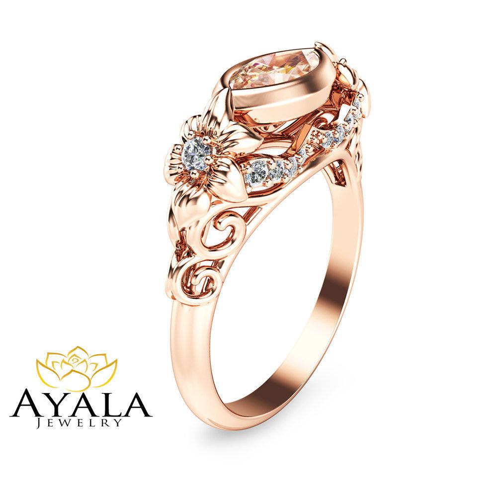 sapphire peach ring gold solitaire rose rings oval engagement in product
