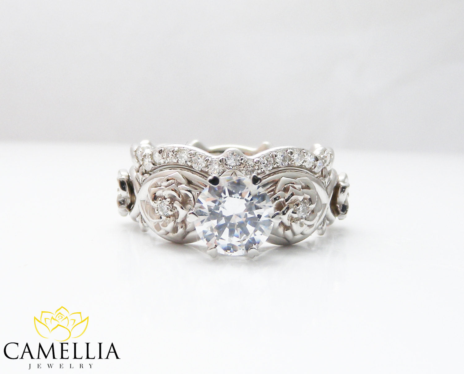 Moissanite Flower Engagement Ring Set 14k White Gold Flower Rings