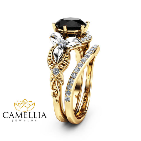 2CT Black Diamond Engagement Ring Set Floral Vintage Matching Rings 14K Two Tone Gold Engagement Rings