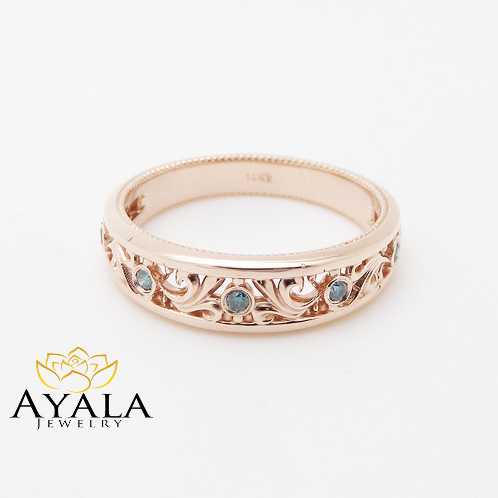 Rose Gold Blue Diamonds Wedding Band Half Eternity Engagement Ring Filigree Wedding Blue Diamonds Ring