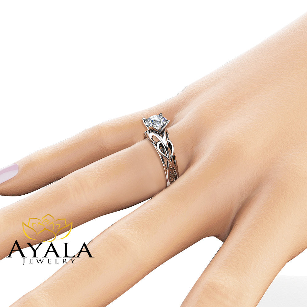 Solitaire Moissanite Engagement Ring 14K White Gold Moissanite Ring Swirl Design Engagement Ring