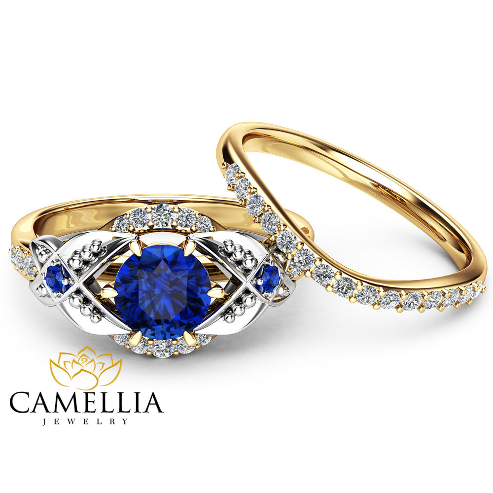 unity set engagement sapphire wedding gold ring white f