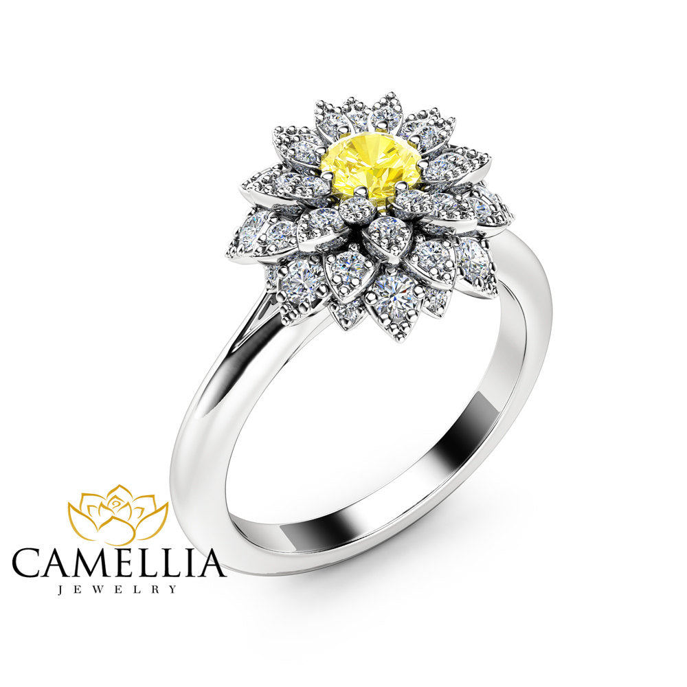 Yellow Diamond Flower Engagement Ring 14k White Gold Fancy Diamond