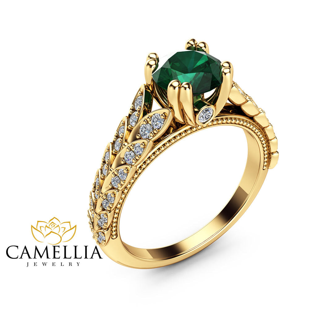 gold diamond ring band emerald rose jewellery cushion fullxfull gemstone bridal rings il cut wedding reco set matching treated engagement