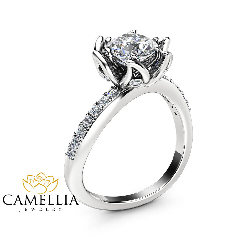with band cut matching handmade floral com set gold ring rings tone dp princess engagement amazon moissanite camellia