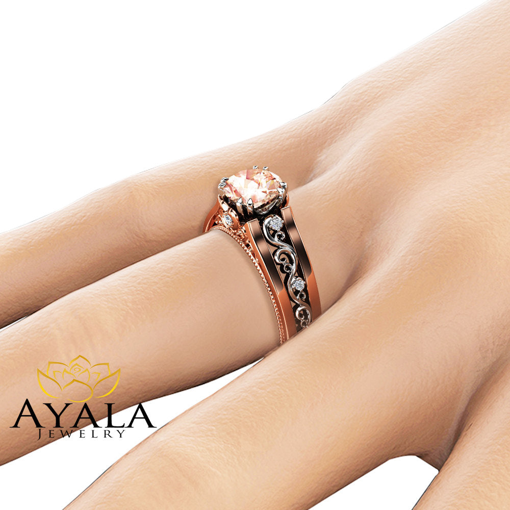 Unique Morganite Engagement Ring 14K Rose Gold Morganite Ring Two Tone Gold Filigree Engagement Ring