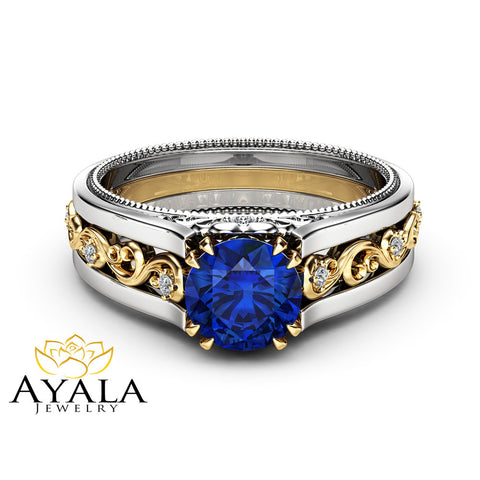 2 Carat Natural Blue Sapphire Engagement Ring 14K Two Tone Gold Gemstone Ring Unique Filigree Engagement Ring