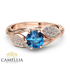Topaz Leaf Engagement Ring 14K Rose Gold Engagement Ring Branch and Leaf Topaz Ring