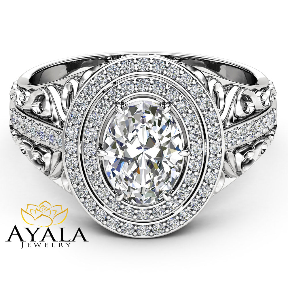 Oval Halo Engagement Ring Double Halo Ring 14K White Gold Ring 1.5Ct Moissanite Engagement Ring Unique Filigree Engagement  Ring