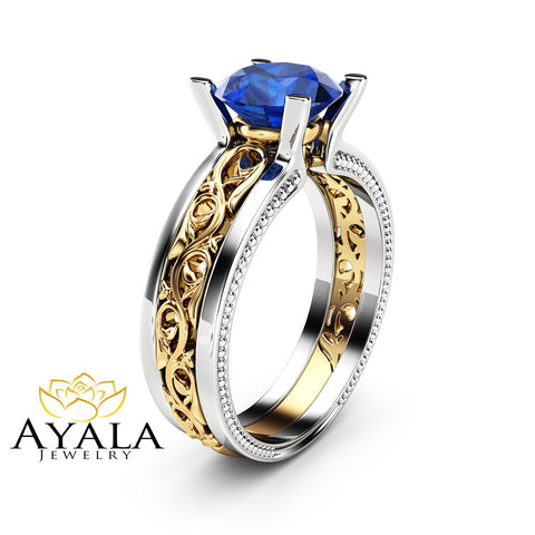 1.5 carat Blue Sapphire Engagement Ring Gemstone Engagement Ring 14K Two Tone Gold Sapphire Ring