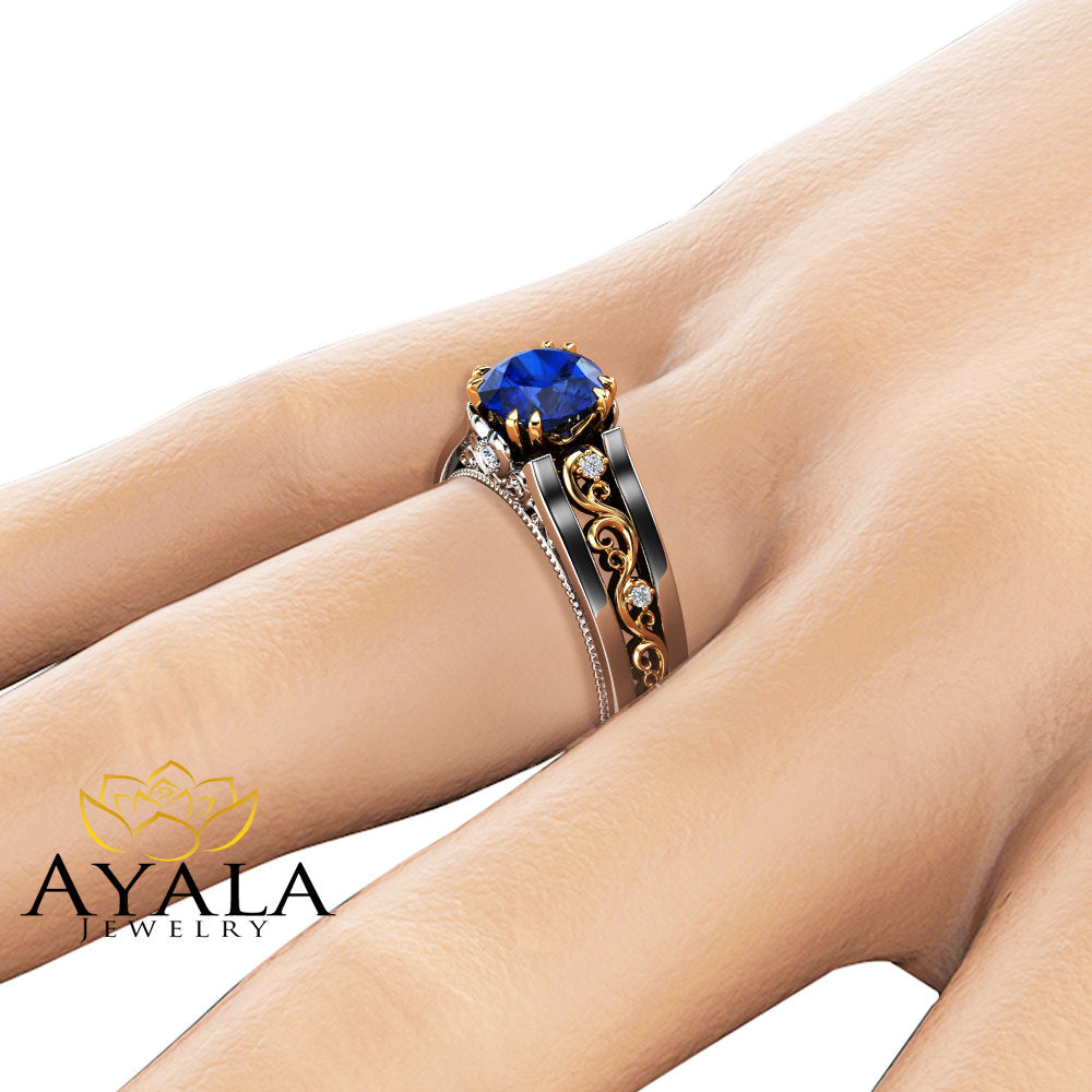 carat engagement shipping sapphire today free jewelry gemstone watches solitaire blue overstock auriya gold round product ring