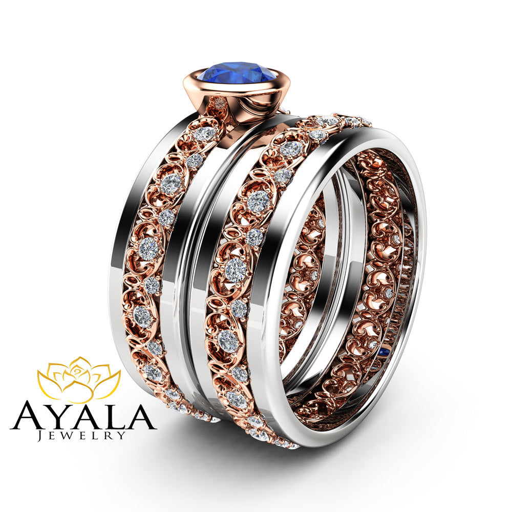 Natural Blue Sapphire Ring Unique Wedding Ring Set 14K White and Rose Gold Bridal Set