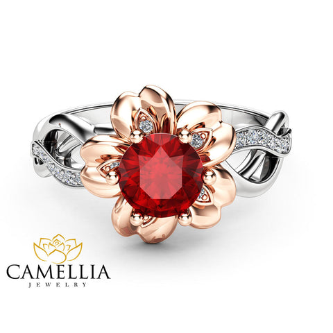 Natural Ruby Petal Engagement Ring 14K Two Tone Gold Petal Ring Unique Ruby Engagement Ring