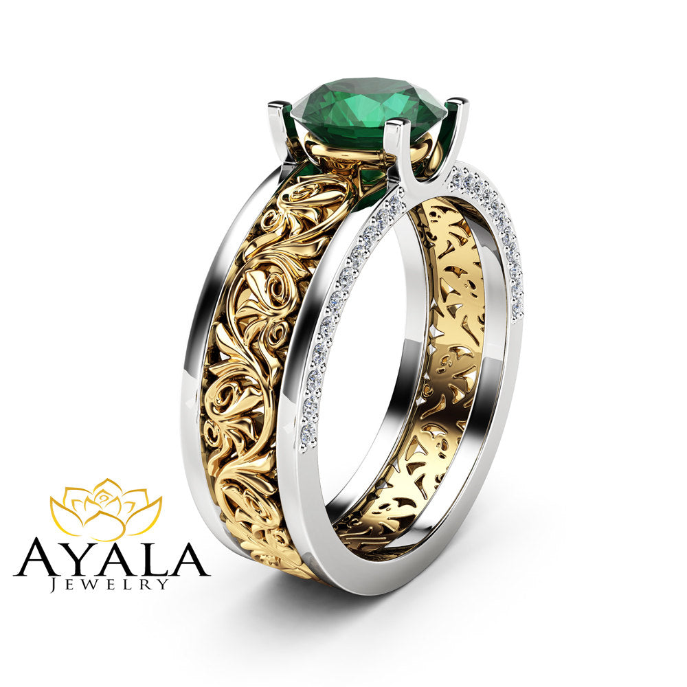 ring engagement rg stone princess in green jewelry rings emerald emrald rose nl side infinity diamond cut gold with