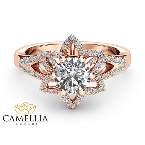 14K Rose Gold Moissanite Ring with Diamonds Floral Moissanite Engagement Ring   Half Eternity Engagement Ring