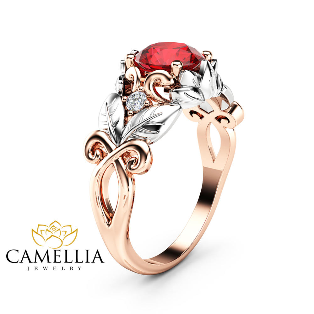 Natural Ruby Engagement Ring 14k Two Tone Gold Ruby Ring Leaf Design