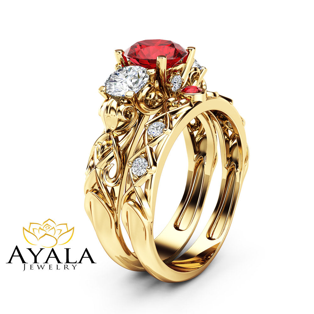 Unique Ruby And Moissanite Three Stone Bridal Set 14K Yellow Gold ...